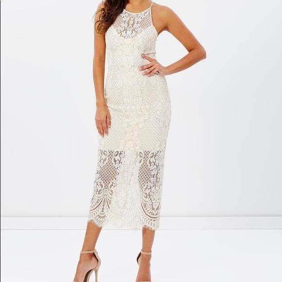 NWT Shona Joy High Neck Lace Midi Dress